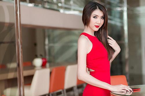 Ngọc Quyên diện váy đỏ rực, khoe da trắng ngần - 4